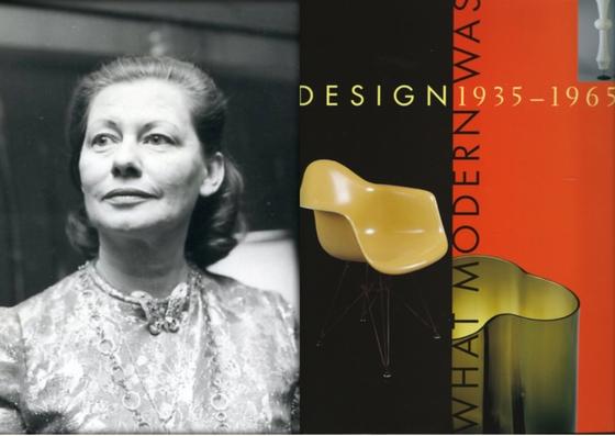 Photo en noir et blanc de Liliane Stewart et une photo de la couverture de la deuxième édition du livre Design 1935-1965 : What Modern Was.