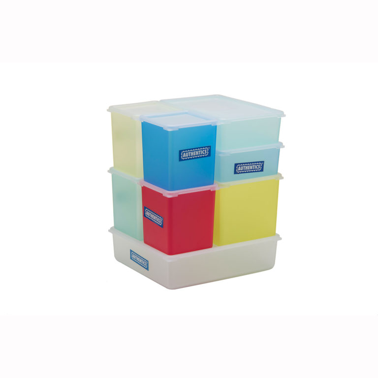 Set of plastic food containers in  different sizes of rectangles in translucent blues, yellows, greens, and red, all with translucent white lids, and fitting together in a cube-shaped stack.