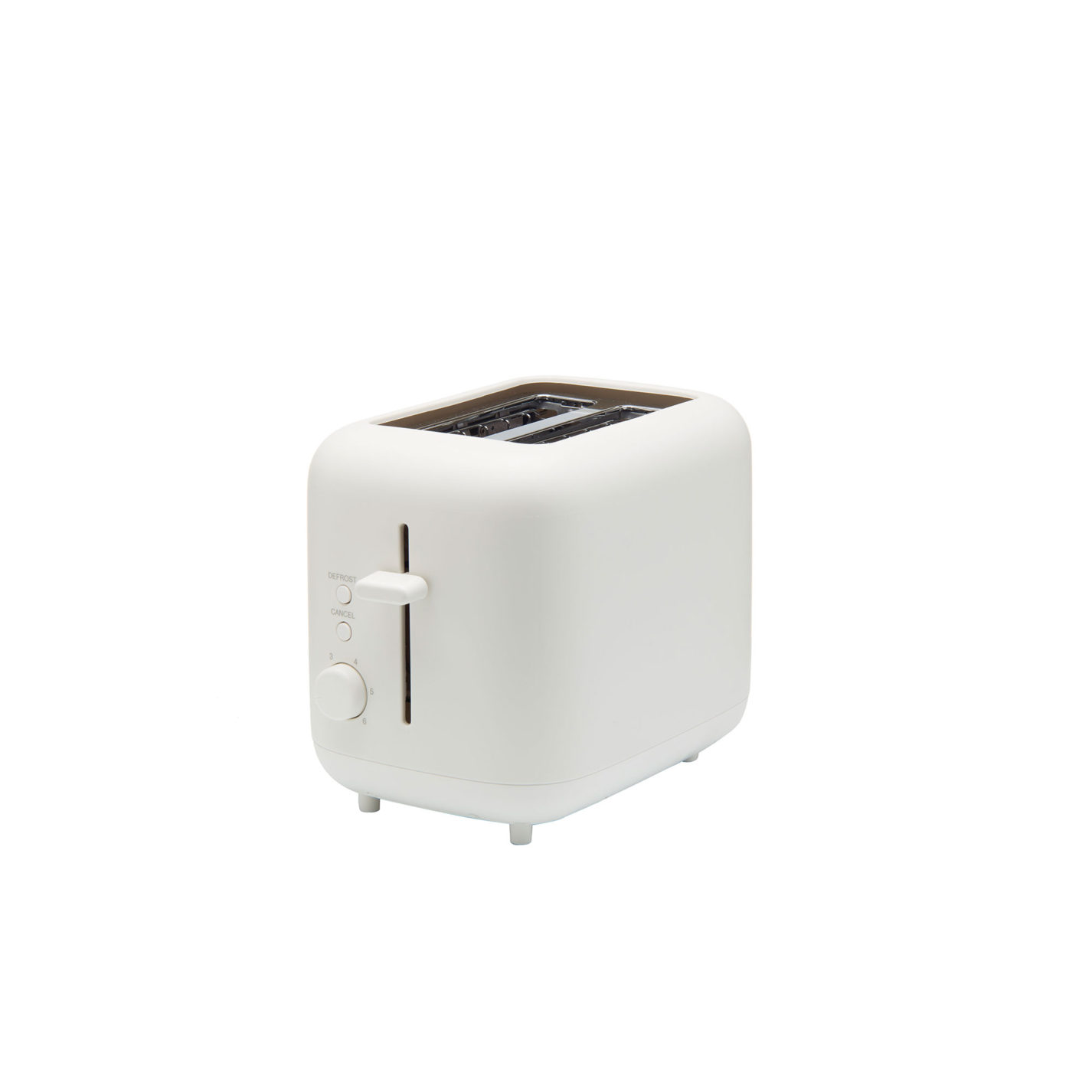 White plastic toaster. Its surfaces are smooth and all edges and corners are rounded.