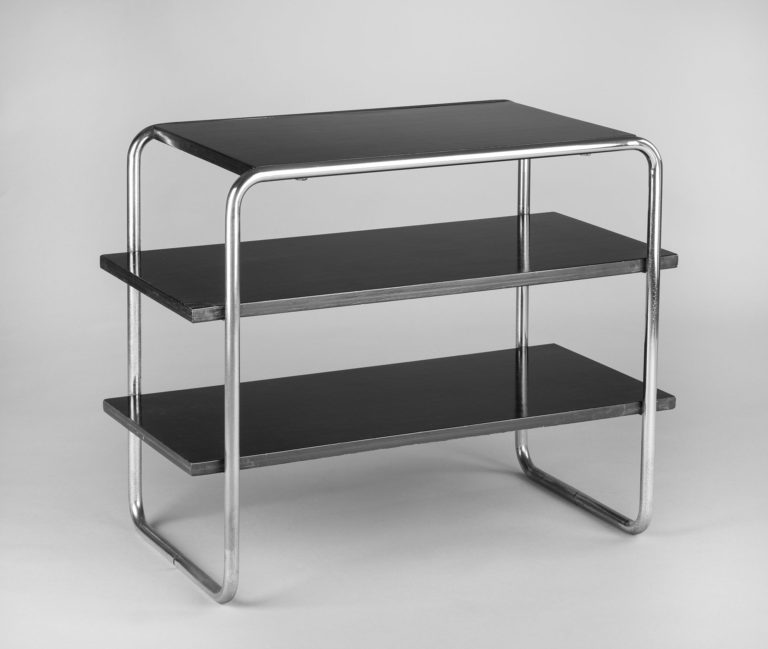 Free-standing set of three black shelves set into a tubular-steel frame with rounded corners.