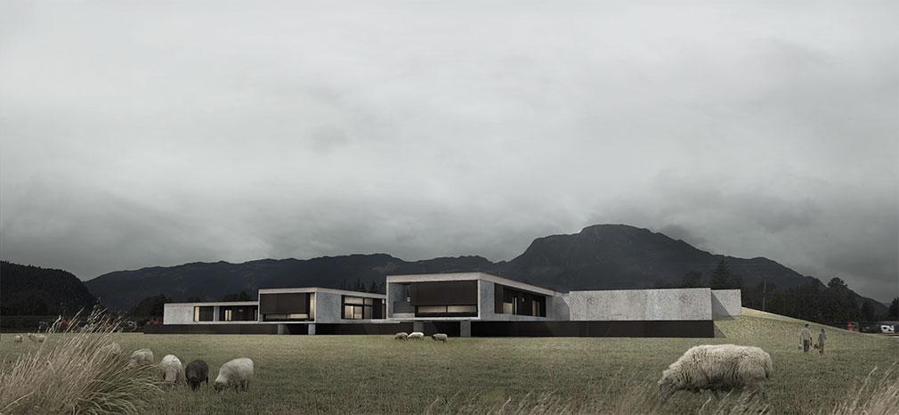 Maison trapue et rectangulaire sur pilotis hauts de deux mètres dotée de murs de béton et de verre, située sur une ferme ovine.