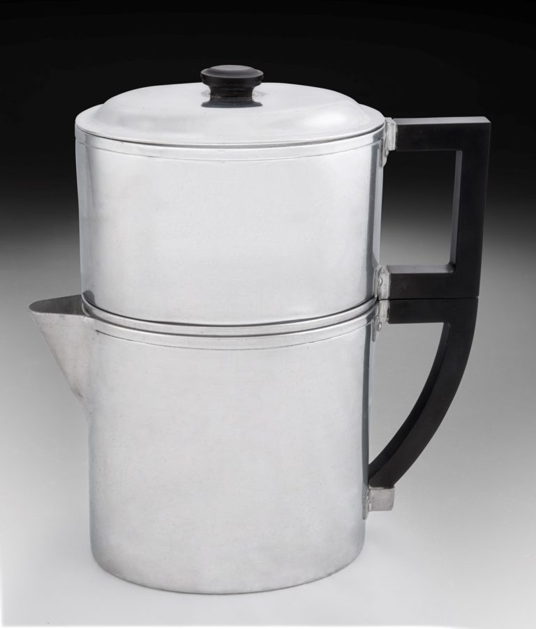 Aluminum percolator-style coffeemaker with matching angular black handles on each piece and a metal lid with a black finial.
