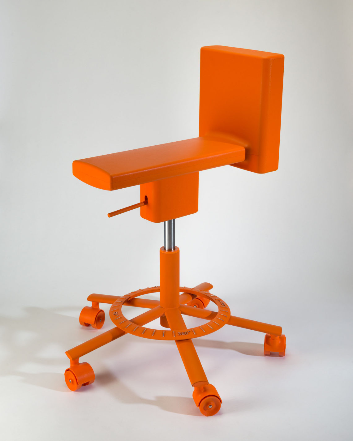 Tall swivel chair on casters with a very narrow seat and a low back. Every element is in bold orange.