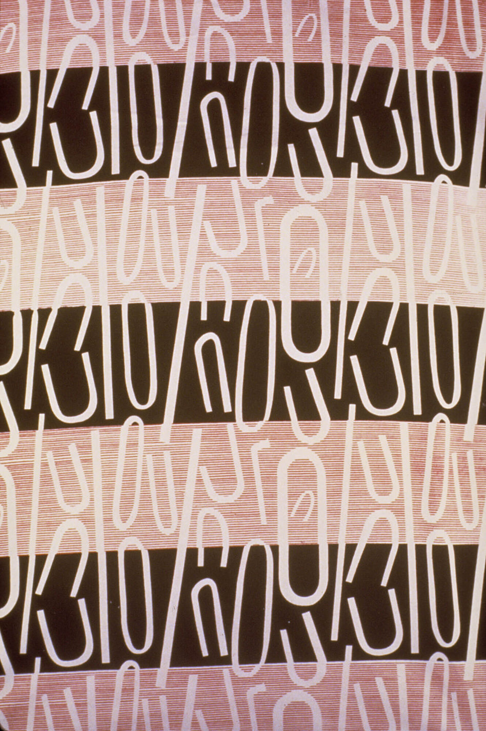Textile with alternating horizontal stripes of dark brown and shades of pink with an overlying pattern of shapes like parts of paperclips.