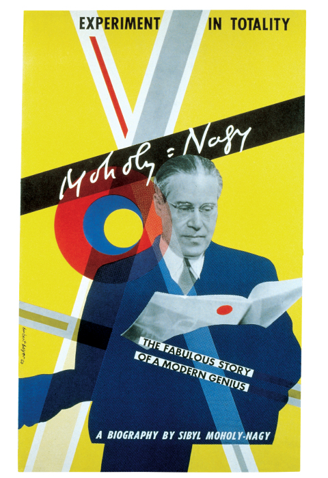 Vertical poster with a photo of Laszlo Moholy-Nagy reading a book. Circles and lines in yellow, blue, red, black, white, and grey are scattered in front of a yellow background, with various types and sizes of text in black and white letters.