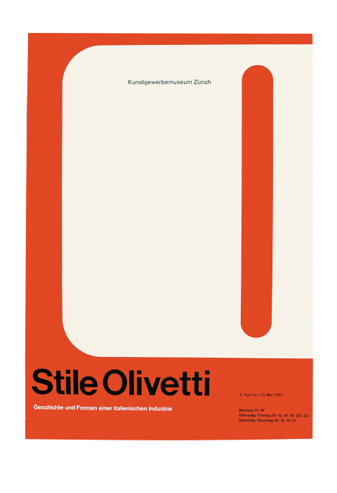 "Vertical rectangular poster with orange background mostly covered by a bold white letter O with the words ""Stile Olivetti"" in black and smaller text in black and white at the bottom."