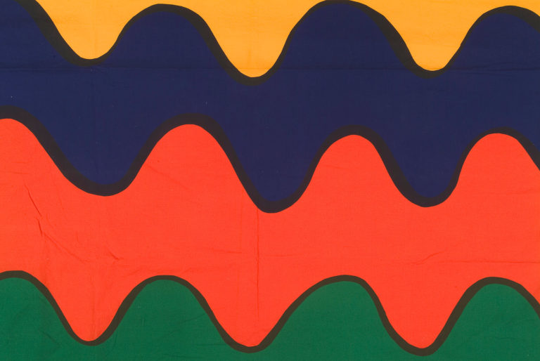 Textile with thick, horizontal rippling stripes in yellow, blue, orange, and green, each outlined in black.