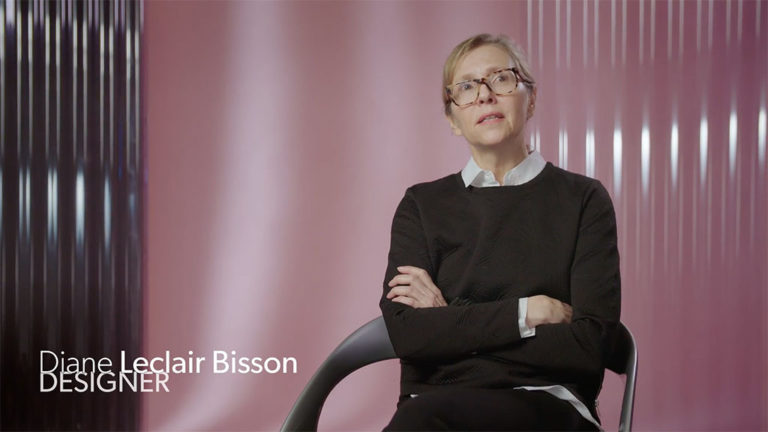 Still image of the interview with designer Diane Bisson.