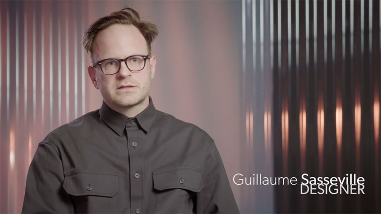 Still image of the interview with designer Guillaume Sassey.
