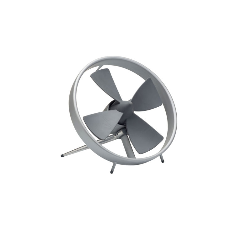 Table fan. A circle of aluminum surrounds a grey propeller with four fins and a pointed center. It leans back on an angled support behind.