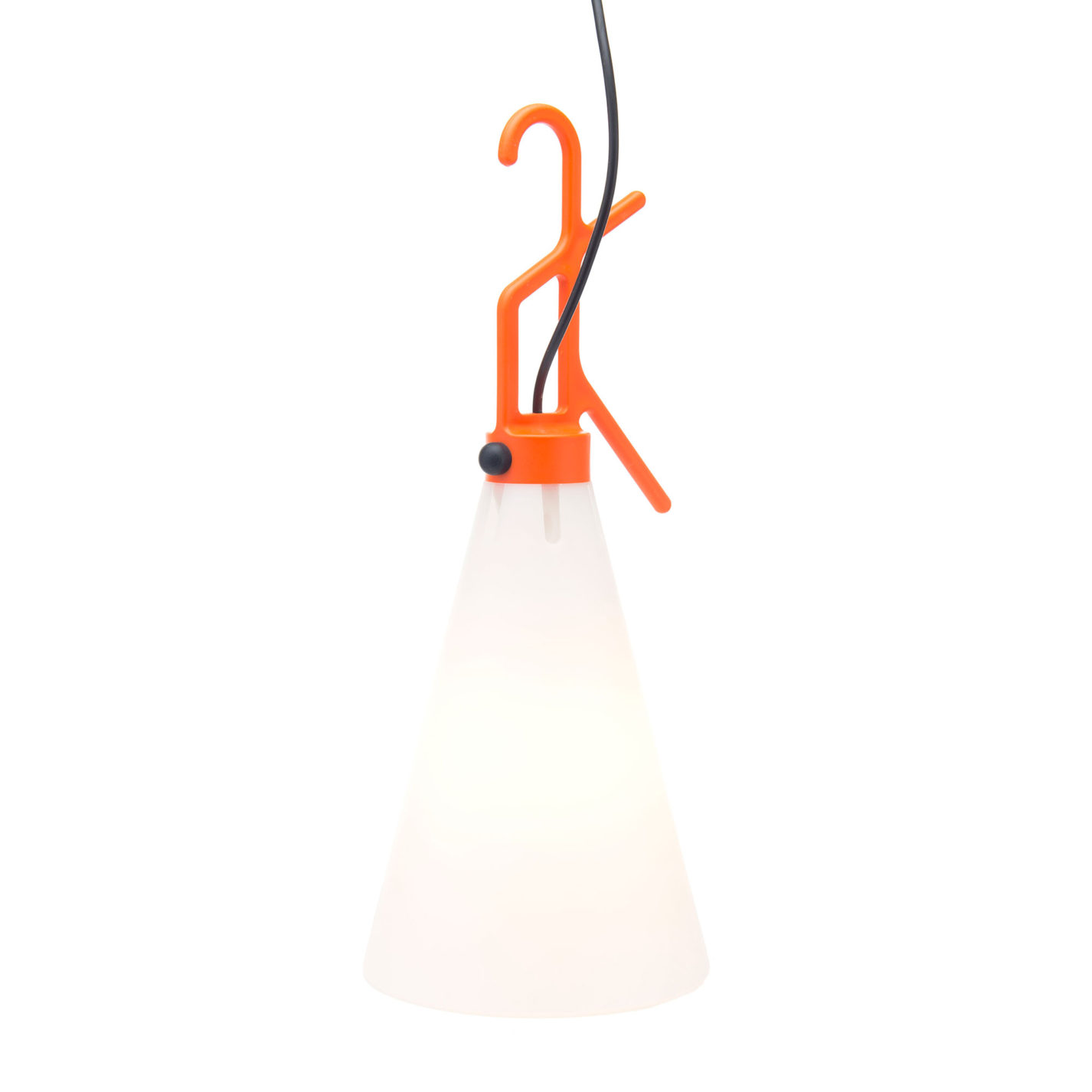 Portable lamp with conical base in transparent white plastic, tapering up to an angular bracket in orange plastic with rounded hanging hook at the top.