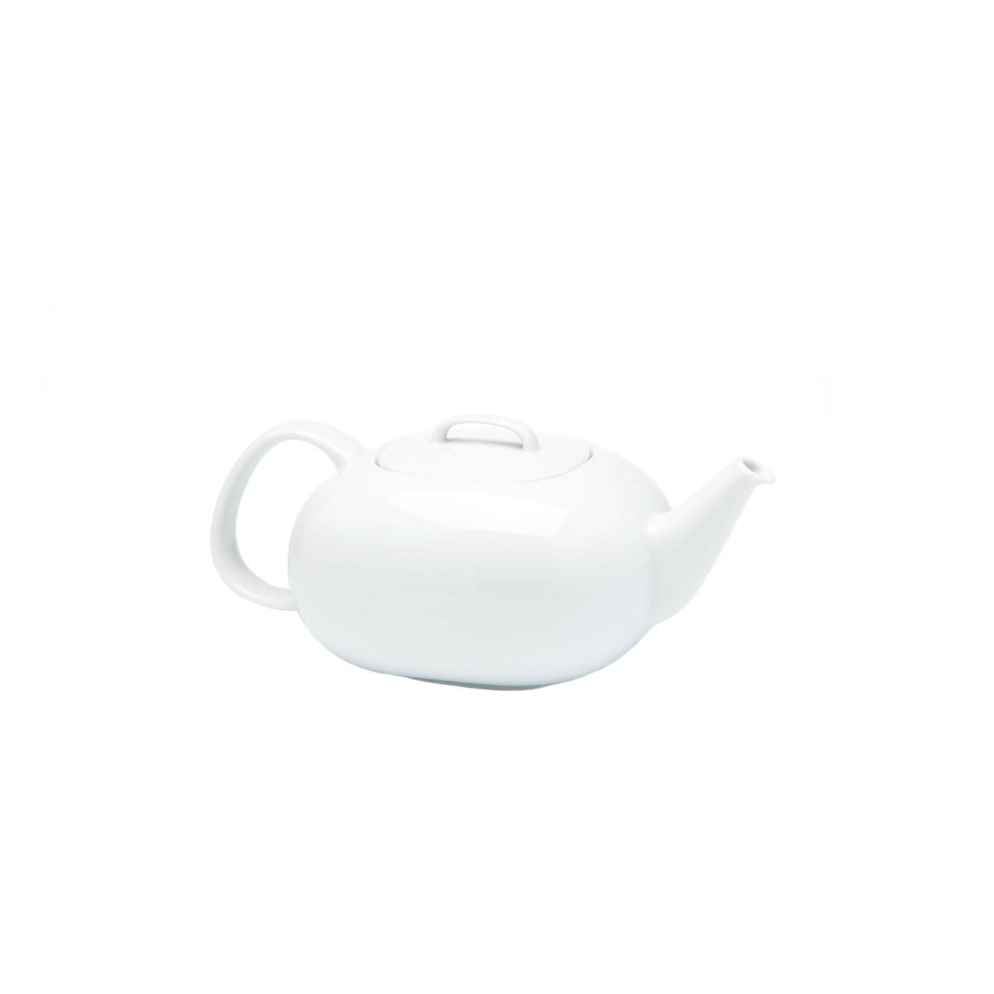 White porcelain teapot. Its form is a smooth rounded rectangle with handle and spout with a simple, low handle set on the lid.